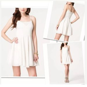 BEBE WHITE SILK SNAKESKIN FIT & FLARE SKATER DRESS